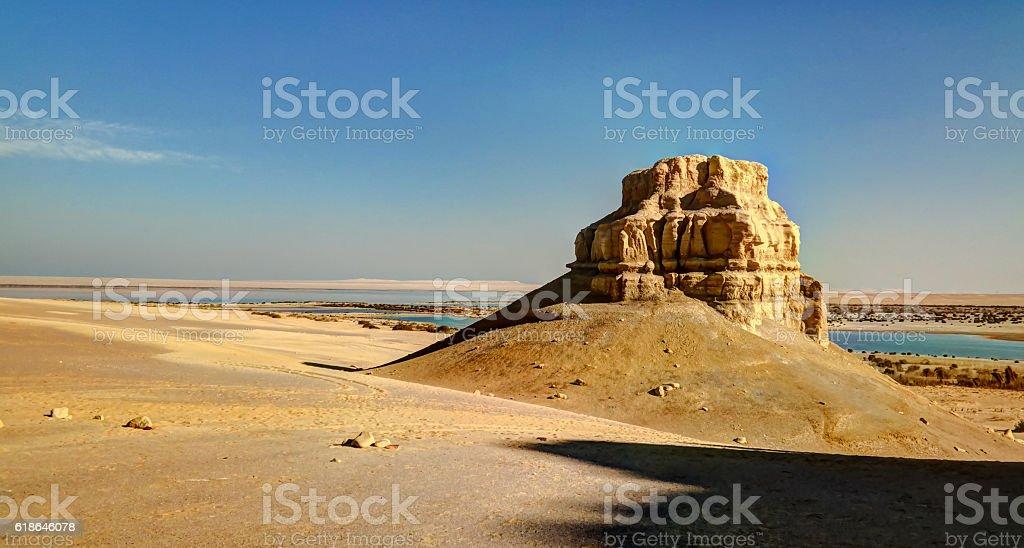 Landscape of hill near Wadi El Rayan,Faiyum Egypt stock photo