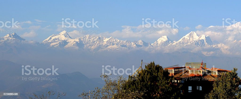 Landscape of Himalaya range from Nagarkot, Nepal stock photo