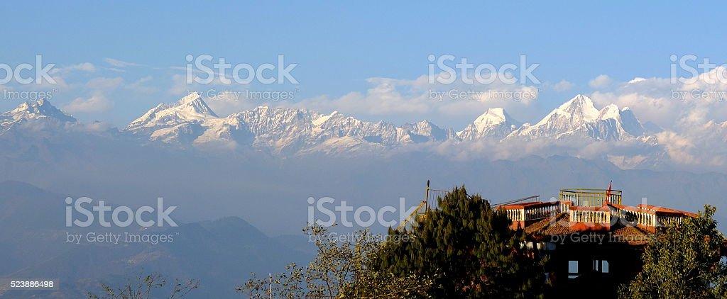 Landscape of Himalaya range from Nagarkot, Nepal stock photo