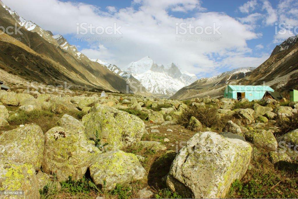 Landscape of Himalayan mountains with Bhagirathi peak in background stock photo