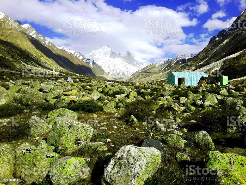 Landscape of Himalayan mountains with Bhagirathi peak stock photo
