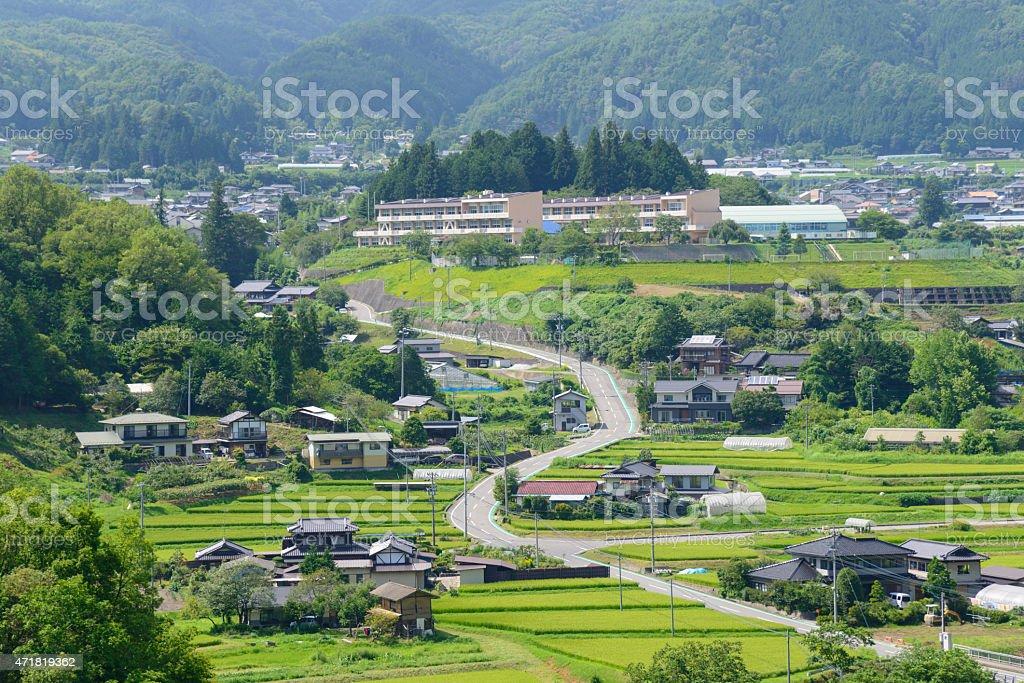 Landscape of IIda in Nagano, Japan stock photo