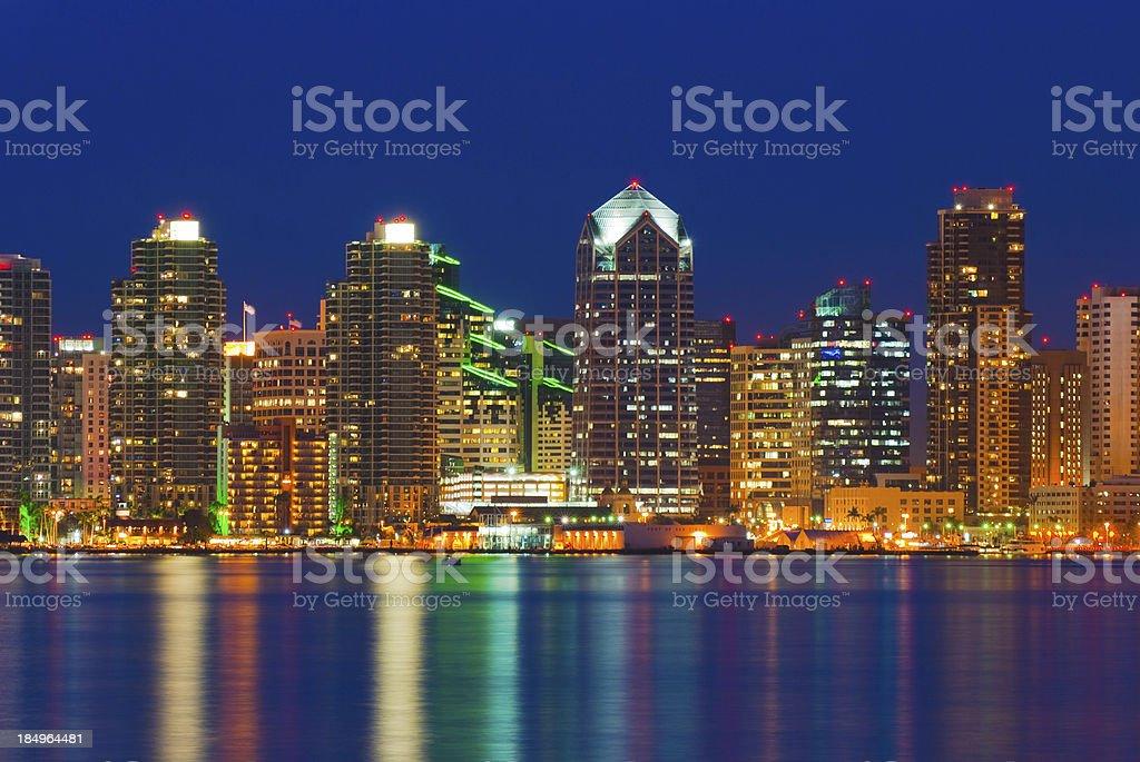 Landscape of Illuminated San Diego skyline royalty-free stock photo