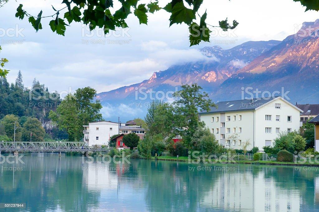 Landscape of Interlaken village with water reflection stock photo