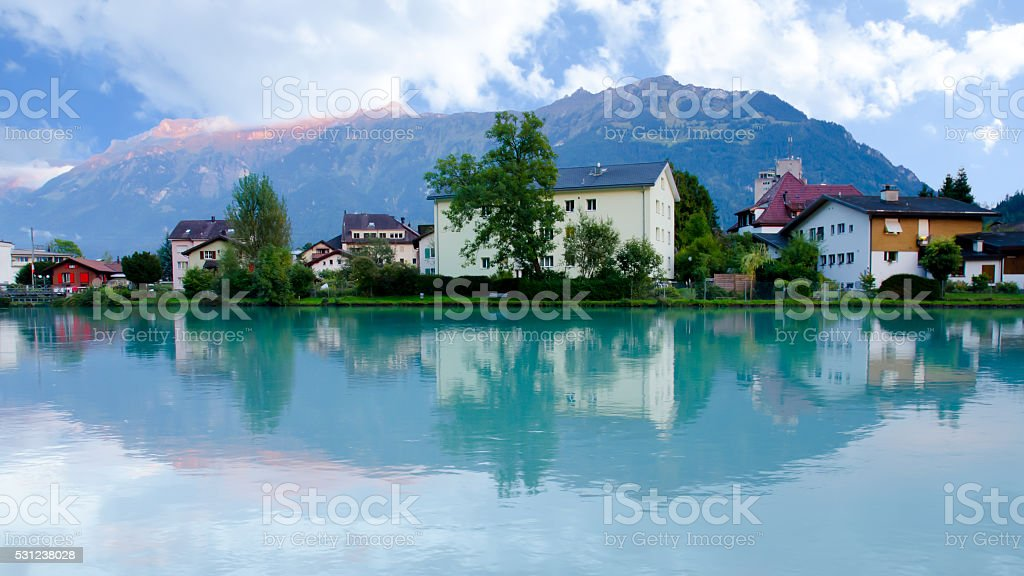 Landscape of Interlaken village with water reflection stock photo
