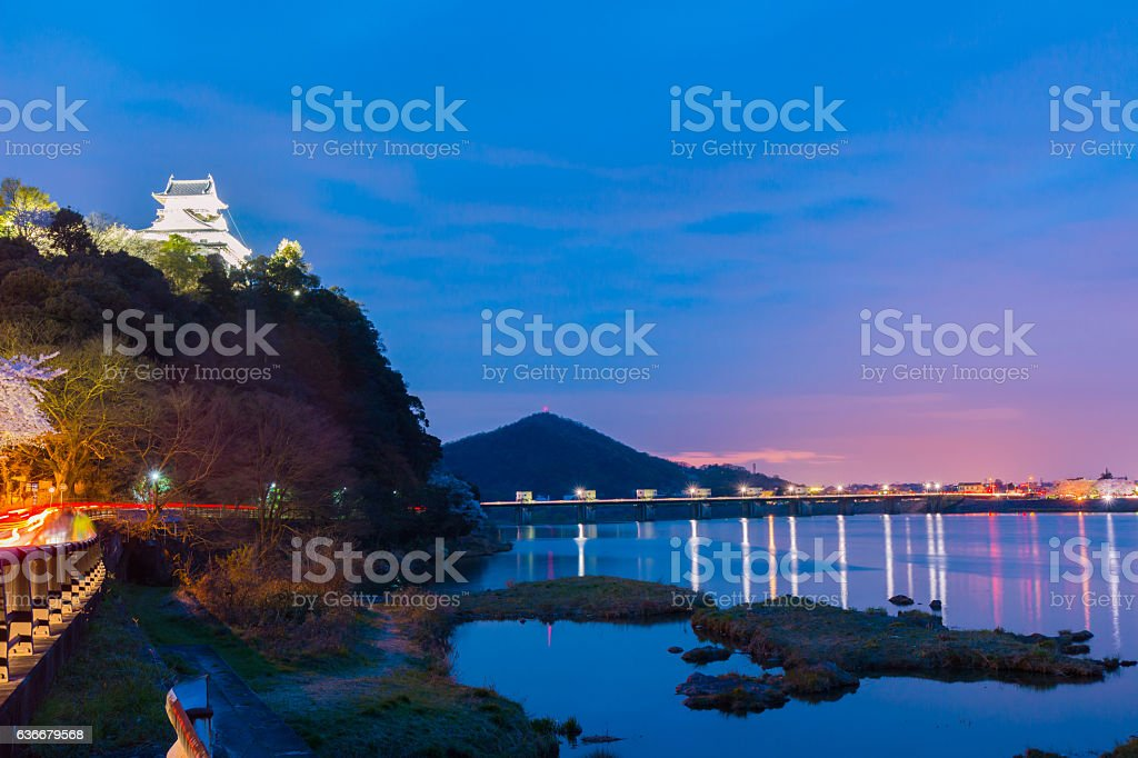 Landscape of inuyama city view with kiso river in night stock photo