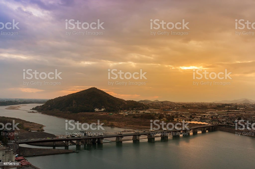 Landscape of inuyama city view with mountain and kiso river. stock photo