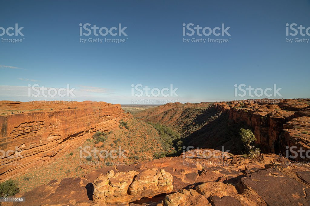 Landscape of kings canyon in outback, red centre of Australia stock photo
