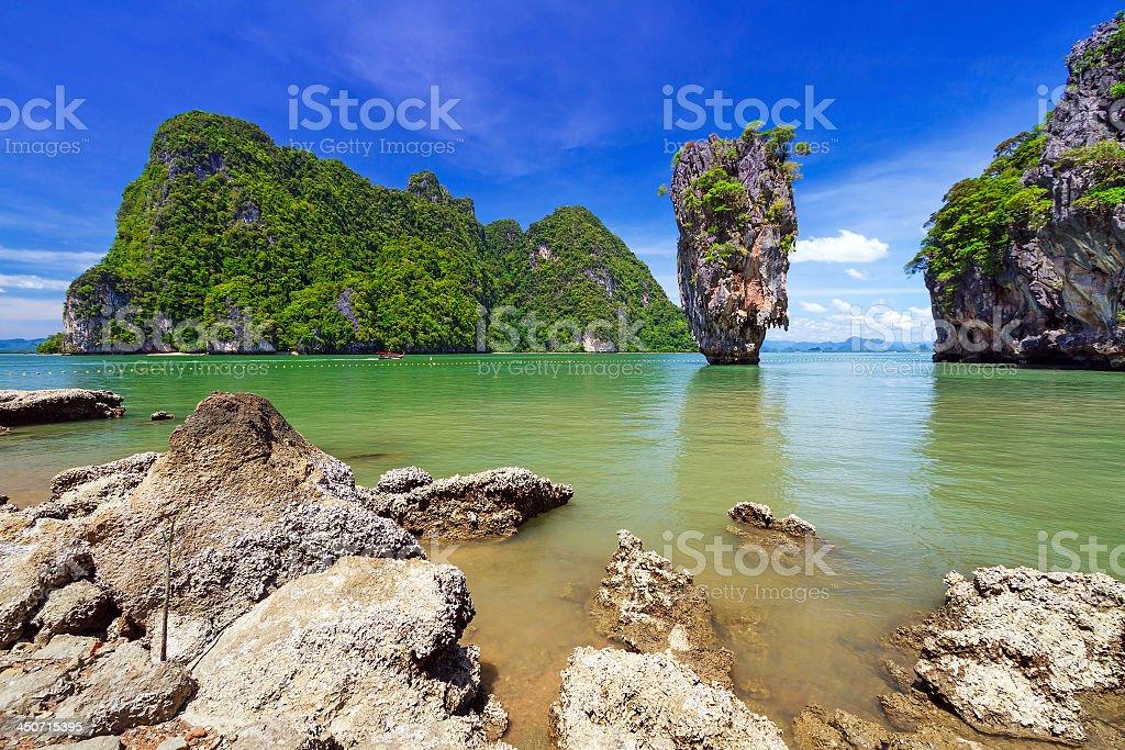 Landscape of Ko Tapu rock on James Bond Island stock photo