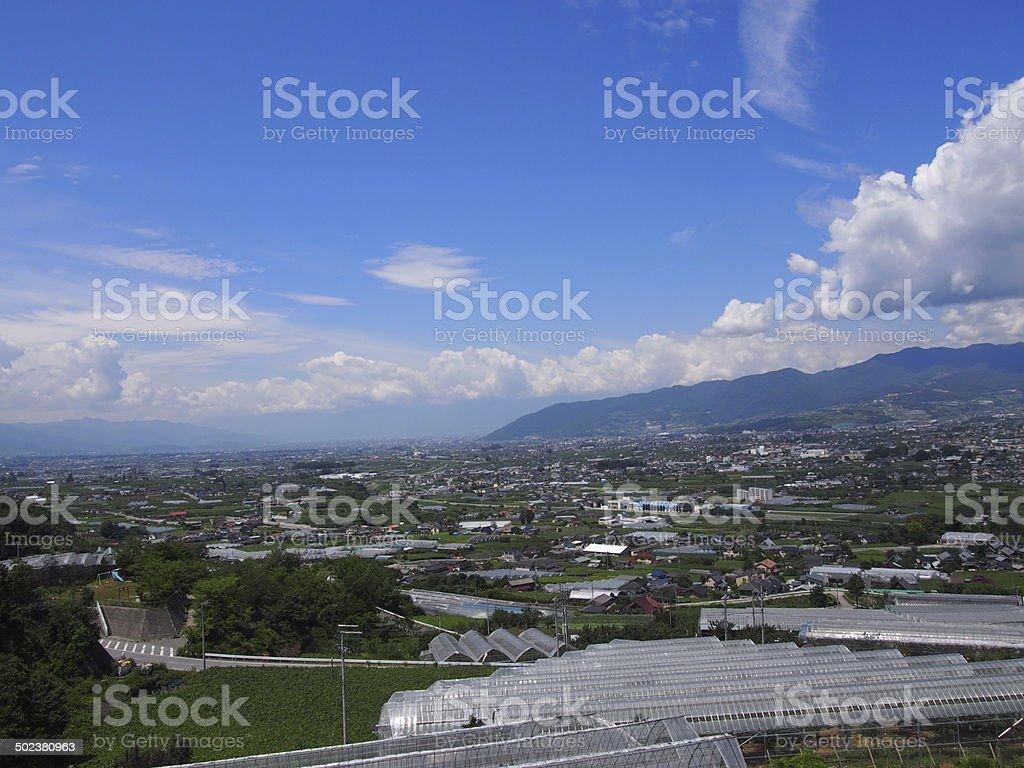 Landscape of Kofu Basin in Yamanashi, Japan stock photo