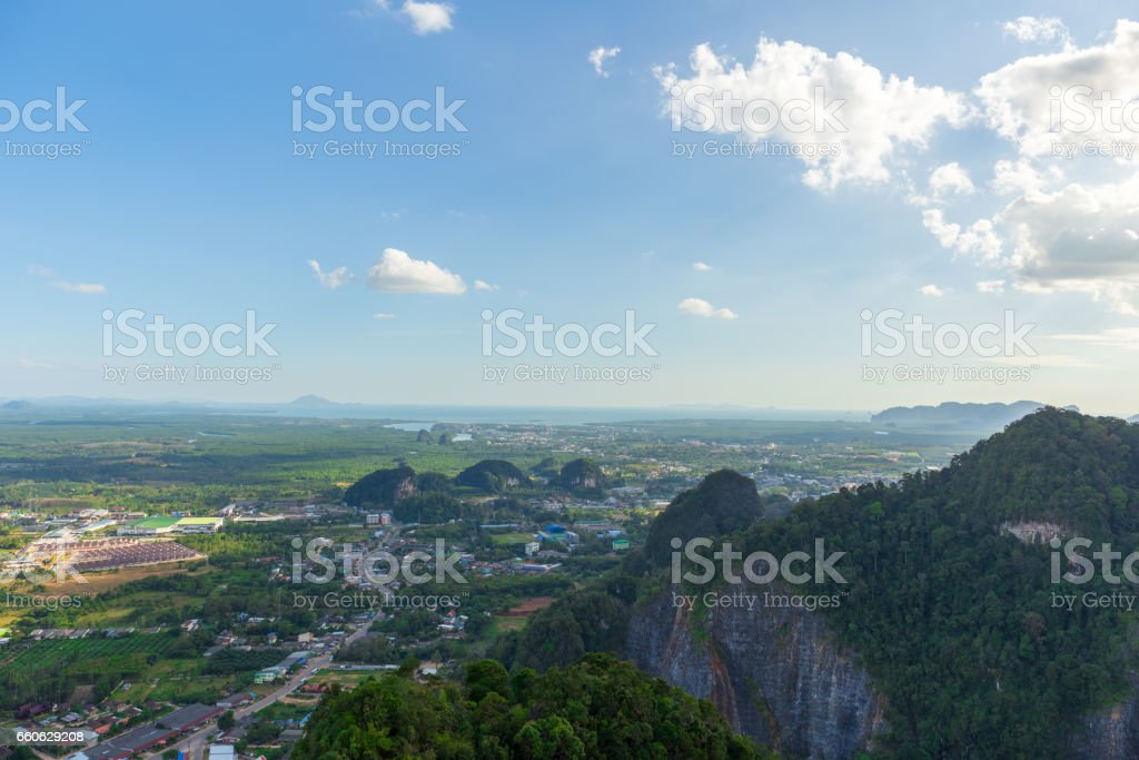 Landscape of Krabi from mountain view of Tiger cave temple. stock photo