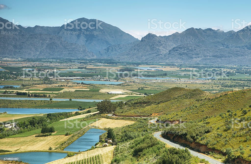 Landscape of lagoons and vineyards from Gydo Pass, stock photo