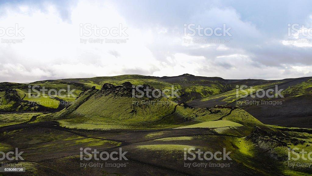 Landscape of Lakagigar volcanic valley,central Iceland stock photo