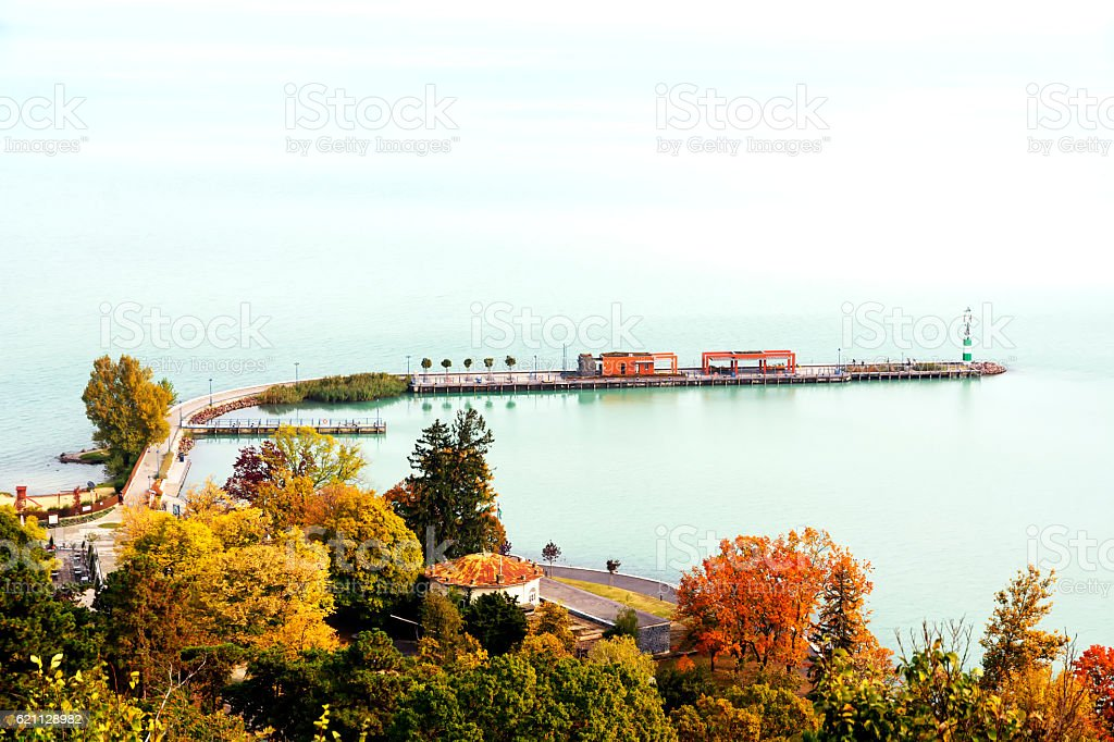 Landscape of Lake Balaton, Tihany, Hungary stock photo