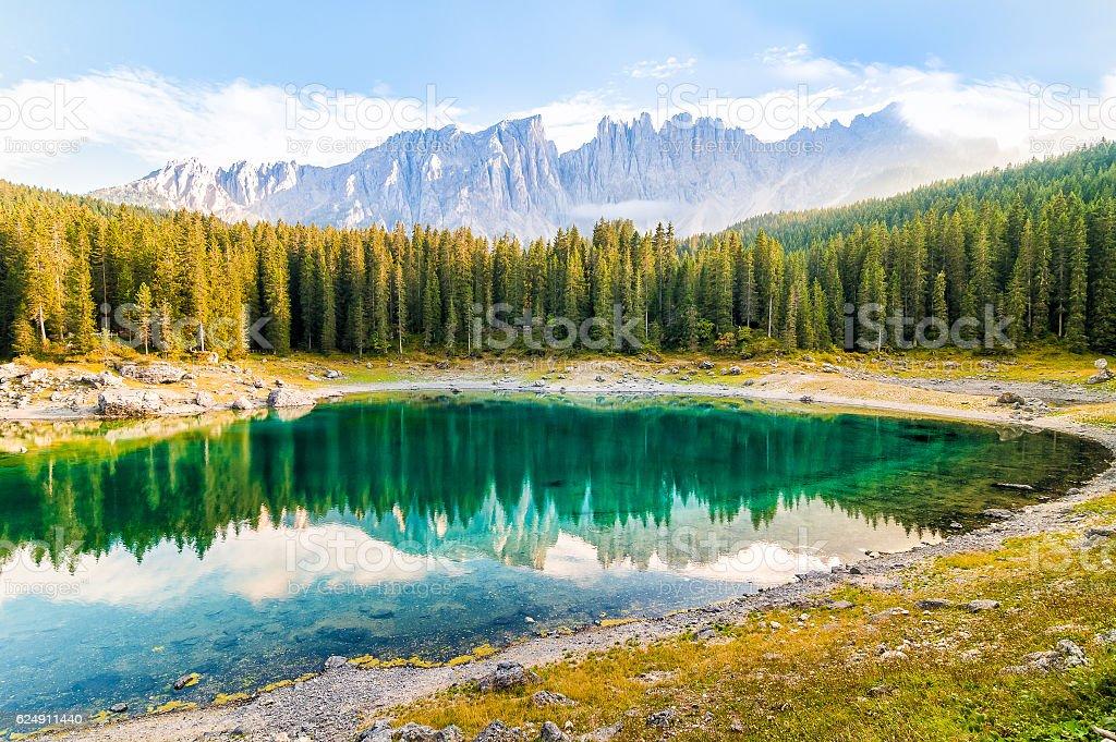 Landscape of Lake Carezza and Dolomites. stock photo