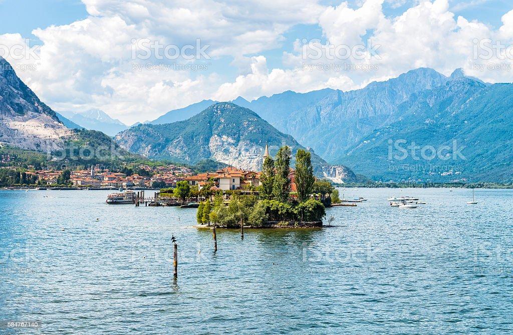 Landscape of lake Maggiore with Fishermen Island. Stresa, Italy stock photo