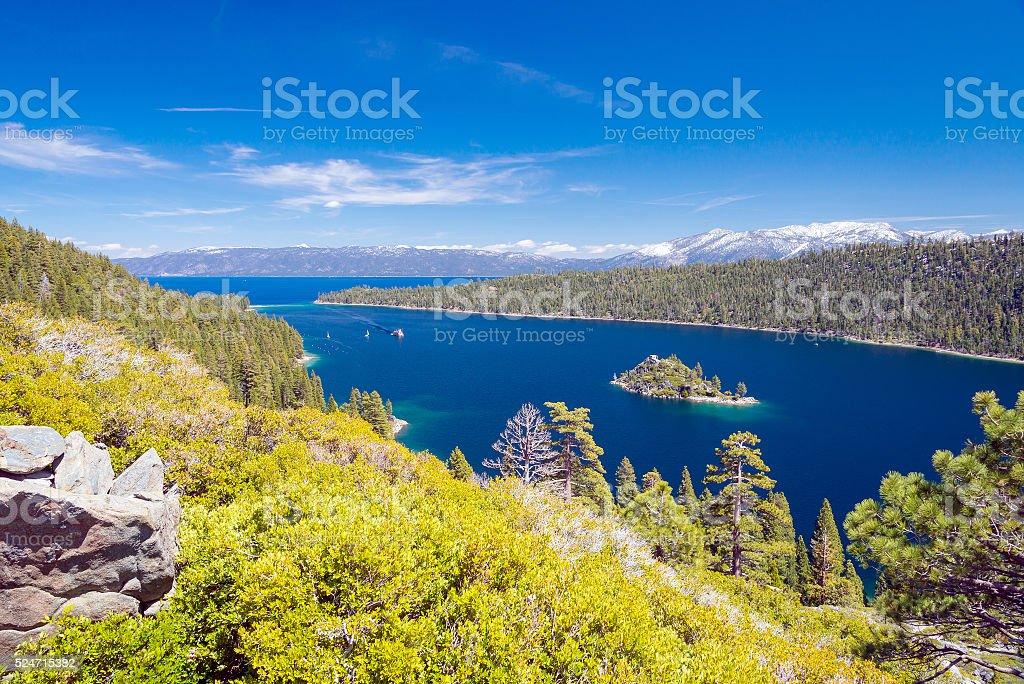 landscape of lake Tahoe, Emerald bay stock photo