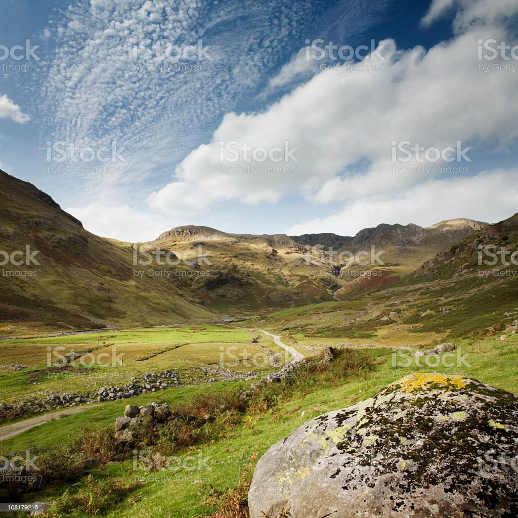 Landscape of Lakeland Valley in English Lake District stock photo