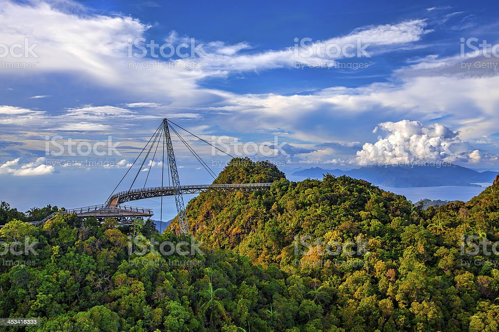 Landscape of Langkawi viewpoint with blue sky and clouds stock photo