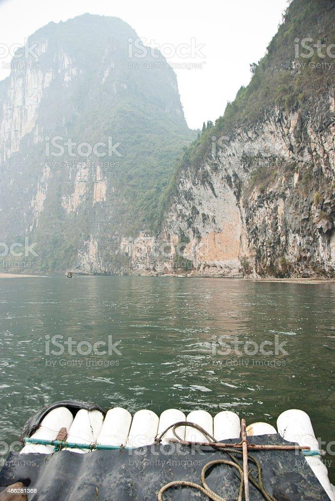 Landscape of Li River in Winter, Guilin, China stock photo