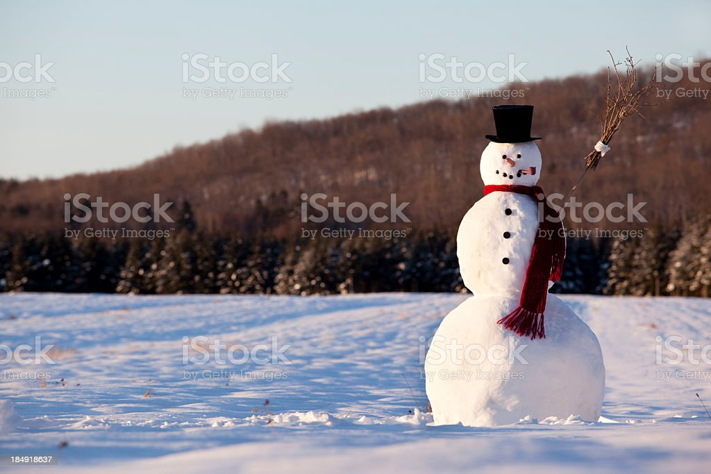 Landscape of line snowman in the morning stock photo