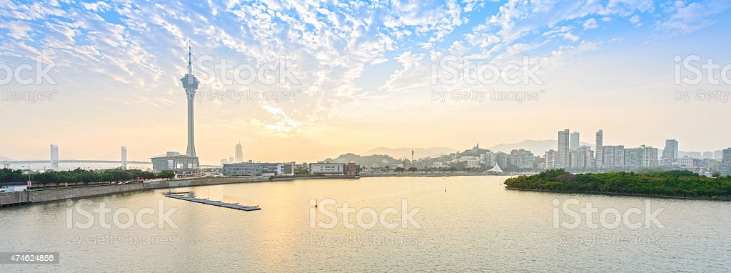 Landscape of Macau at dusk stock photo
