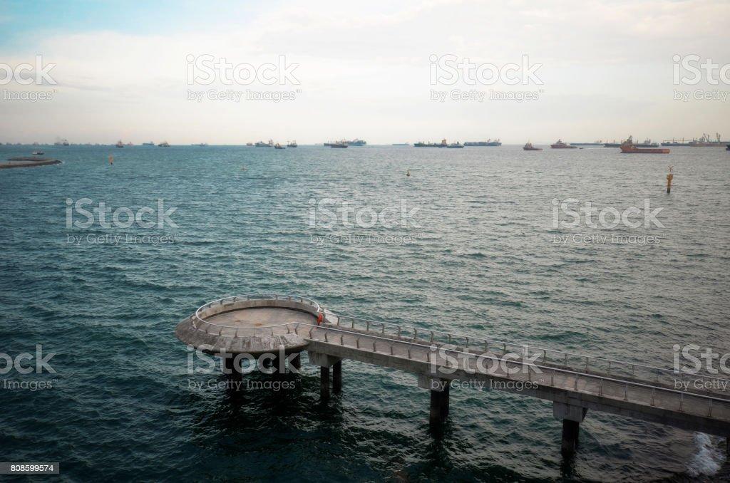 Landscape of Marina Barrage of Singapore stock photo
