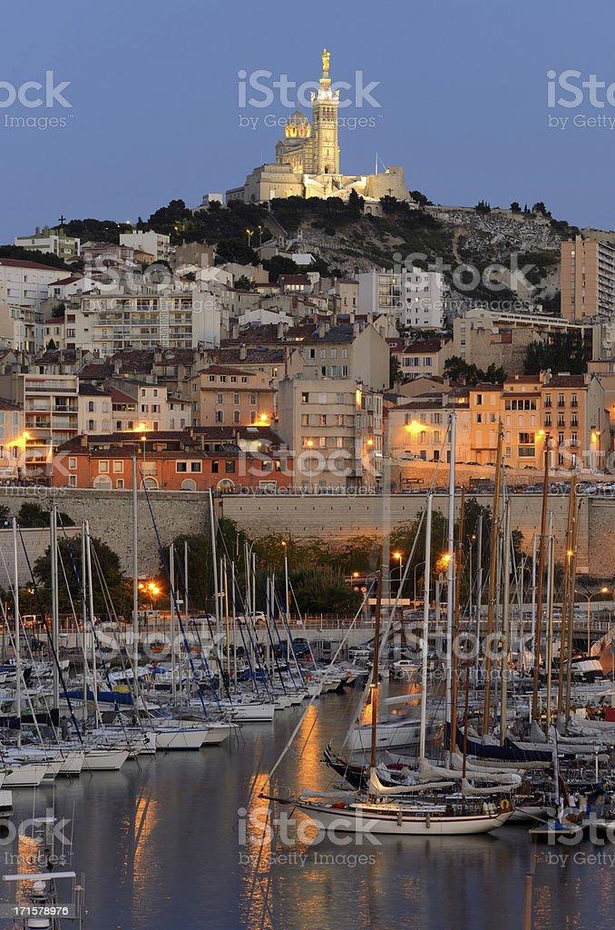 Landscape of Marseille harbor at night stock photo