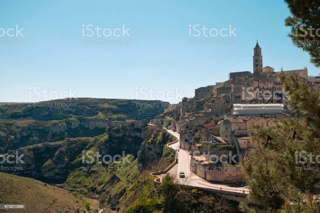 Landscape of Matera in spring morning. stock photo