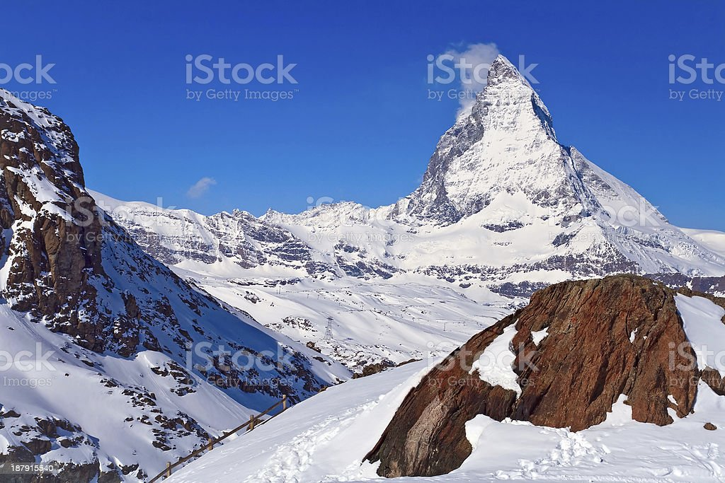 Landscape of Matterhorn peak with Red rock located at Gornergrat royalty-free stock photo
