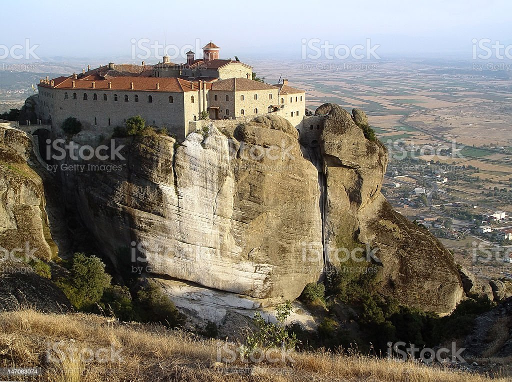 Landscape of  Meteora's monastery royalty-free stock photo