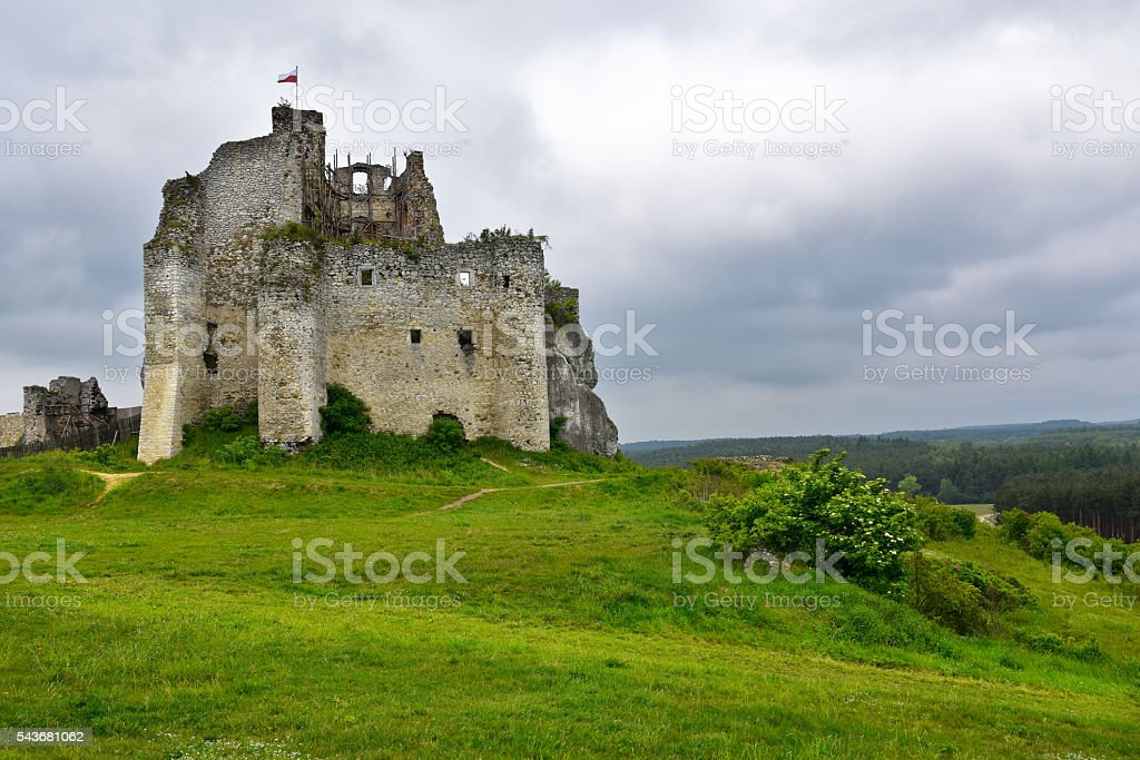 Landscape of Mirów Castle ruins in Poland stock photo