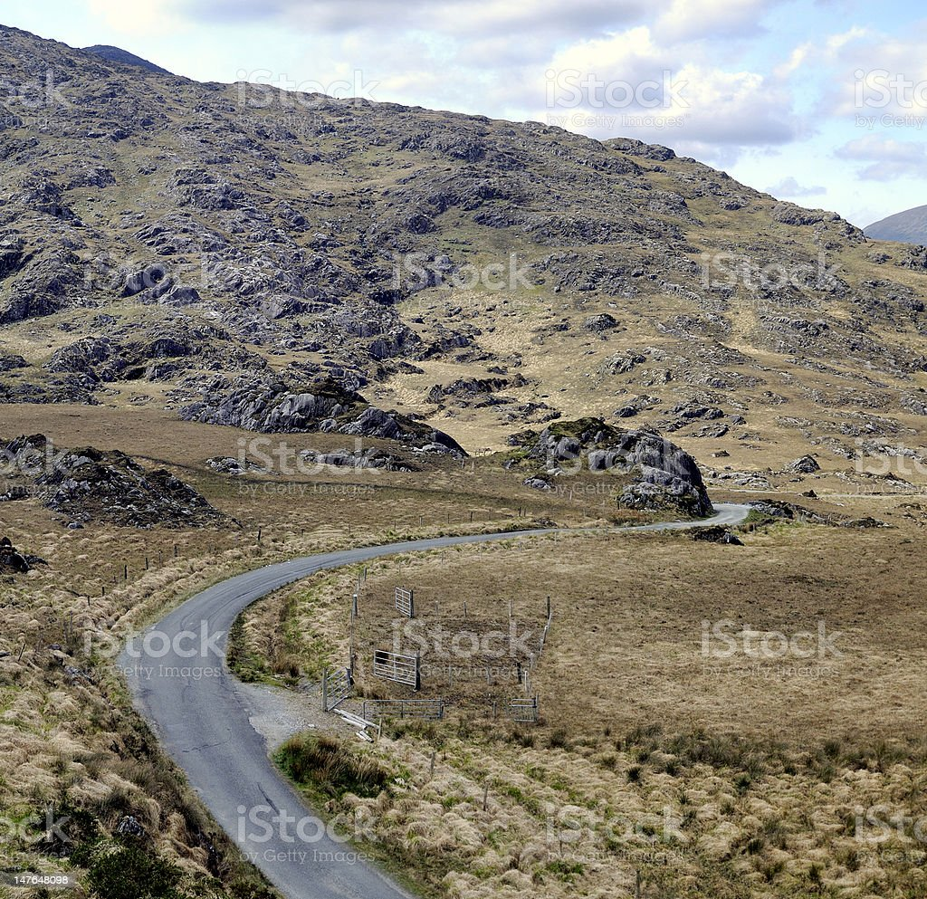 Landscape of Moll's Gap in Ireland stock photo