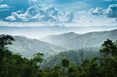 Landscape of mountain green forest and clouds sky