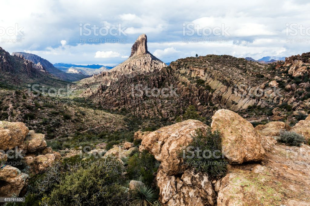 Landscape of mountain in desert of Arizona, USA stock photo