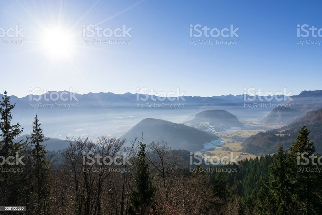 Landscape of mountain surrounding area of lake Bohinj, Slovenia Alps stock photo
