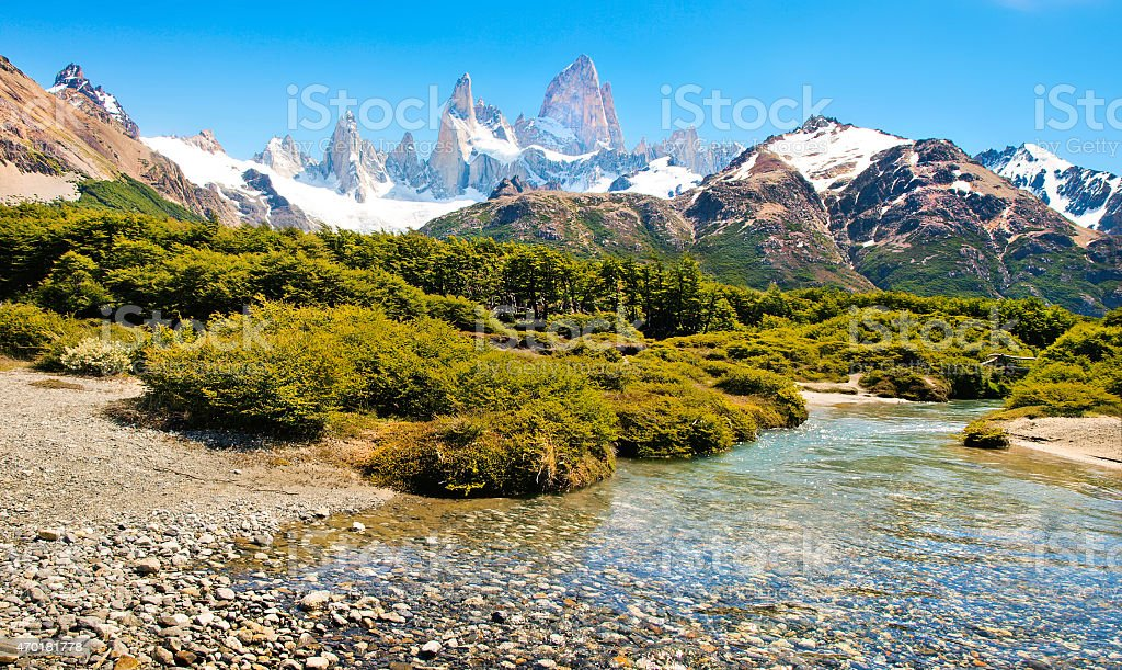 Landscape of mountains and creek in Patagonia, Argentina stock photo