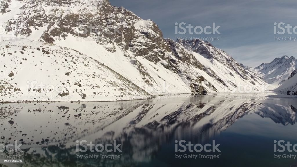 Landscape of mountains and lagoon at a Ski resort in Chile stock photo
