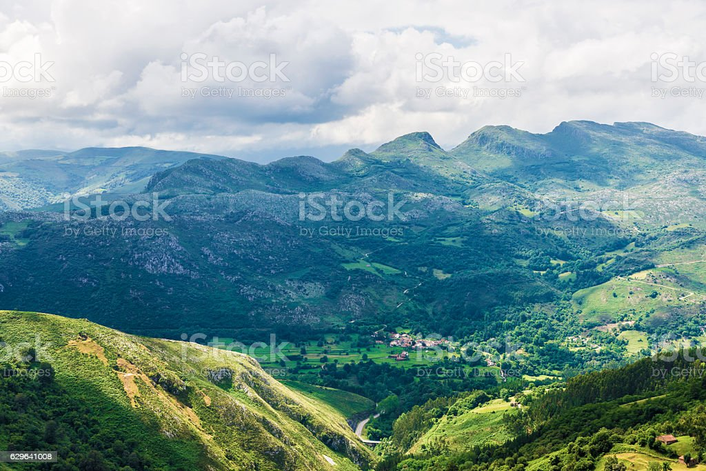 Landscape of mountains and meadows in Cantabria, Spain stock photo