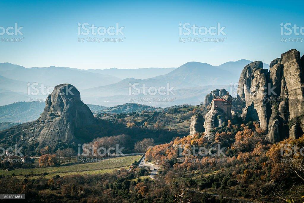 Landscape of mountains around  Meteora, Greece in sunlight stock photo