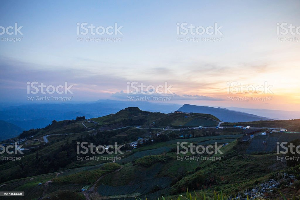 Landscape of mountains in thailand. stock photo