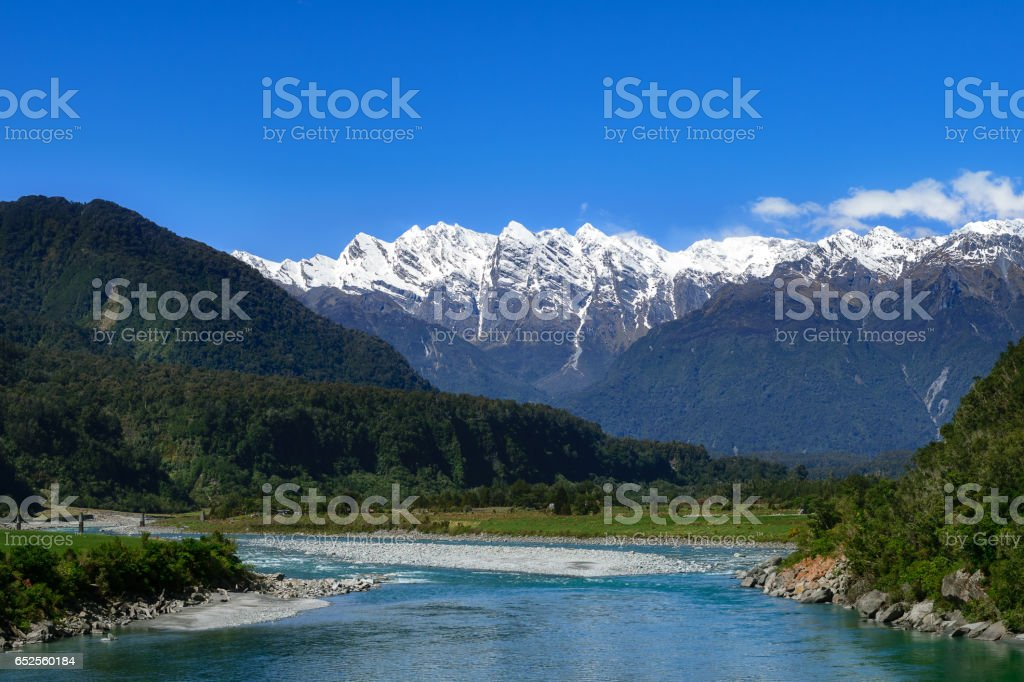 Landscape of Mt.cook with canal, New Zealand stock photo