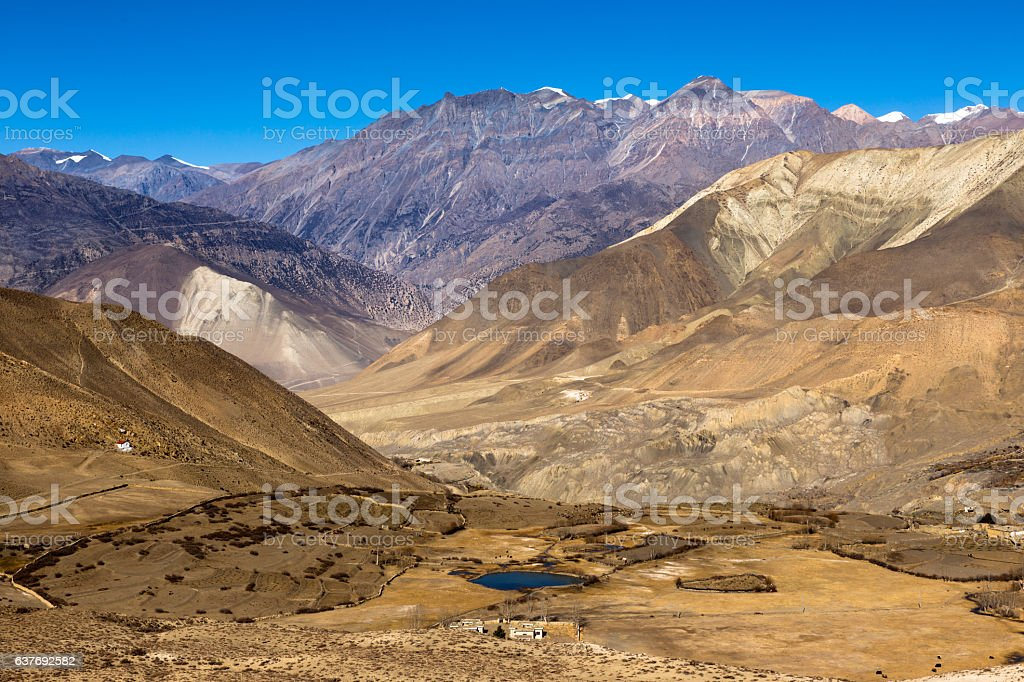 Landscape of Muktinath village in lower Mustang District, Nepal stock photo