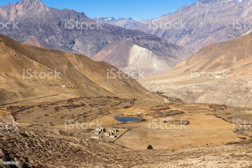 Landscape of Muktinath village in lower Mustang, Nepal stock photo
