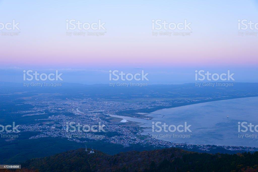 Landscape of Mutsu city stock photo
