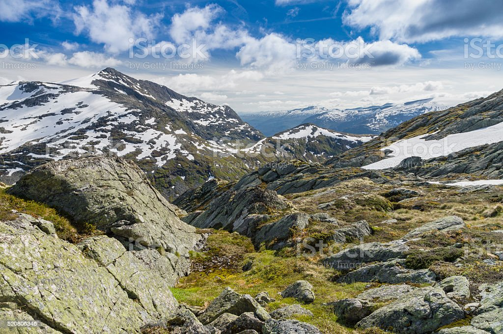 Landscape of norwegian mountain valley stock photo