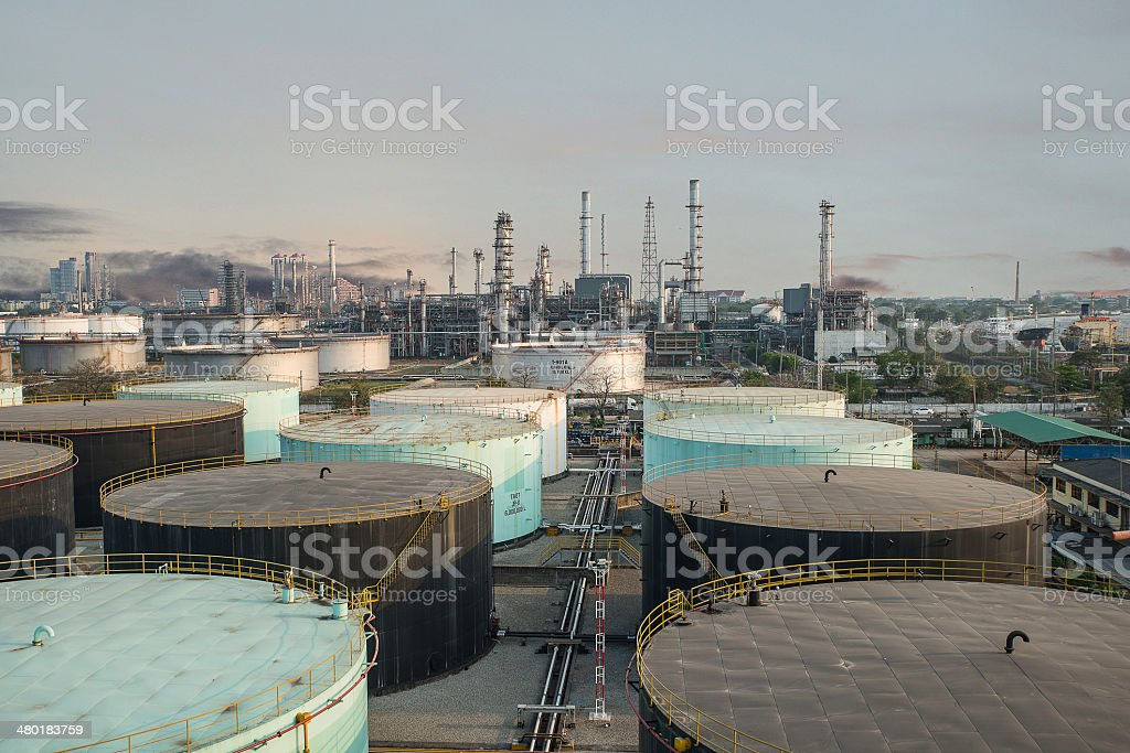 Landscape of oil refinery industry with  storage tank royalty-free stock photo