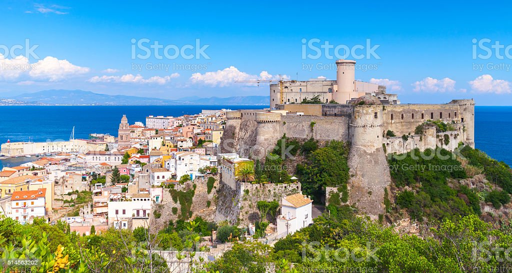 Landscape of old Gaeta with ancient castle stock photo