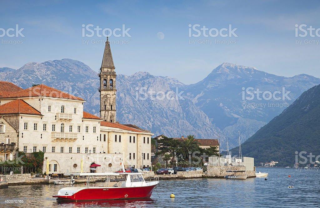 Landscape of old Perast town, Kotor bay, Montenegro stock photo