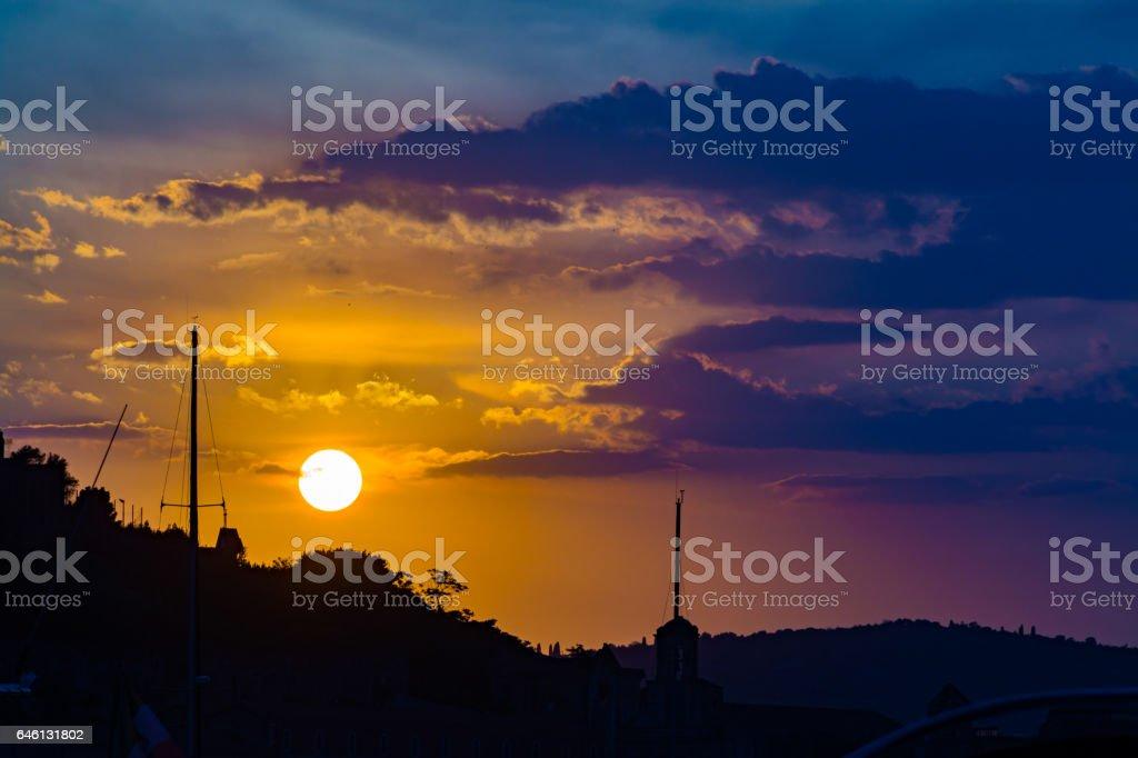 Landscape of old town Gaeta on sunset stock photo